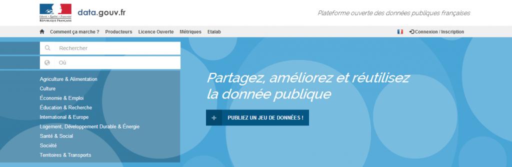 Page d'accueil data.gouv.fr