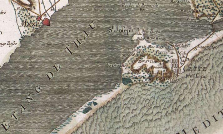 Un extrait de la carte de Cassini sur la ville de Sète