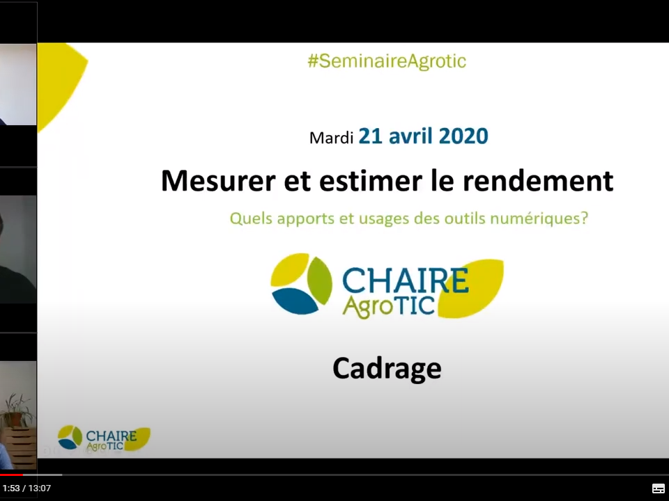video seminaire chaire AgroTIC - rendement agriculture